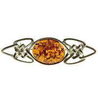 Cognac Baltic Amber Sterling Silver 925 Brooch Pin Jewellery Jewelry