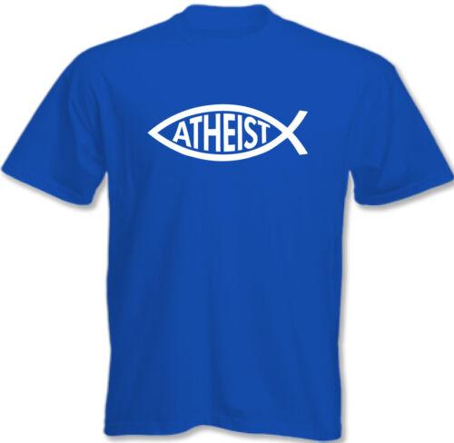 Mens Funny Atheist T-Shirt Atheism Darwin Fish Athiest
