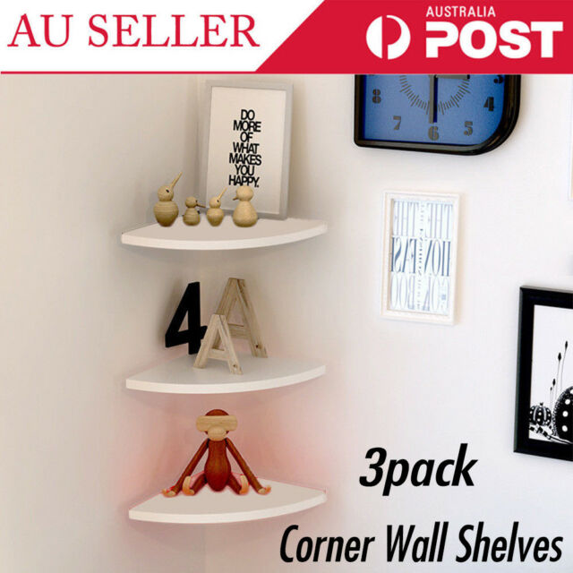 3X Floating Corner Shelf Wall-Mounted Storage Rack Bookshelves Home Furniture AT