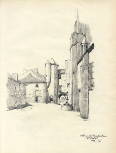 Austin Blomfield - 1956 Charcoal Drawing, Abbey of Maupertuis, Pontois