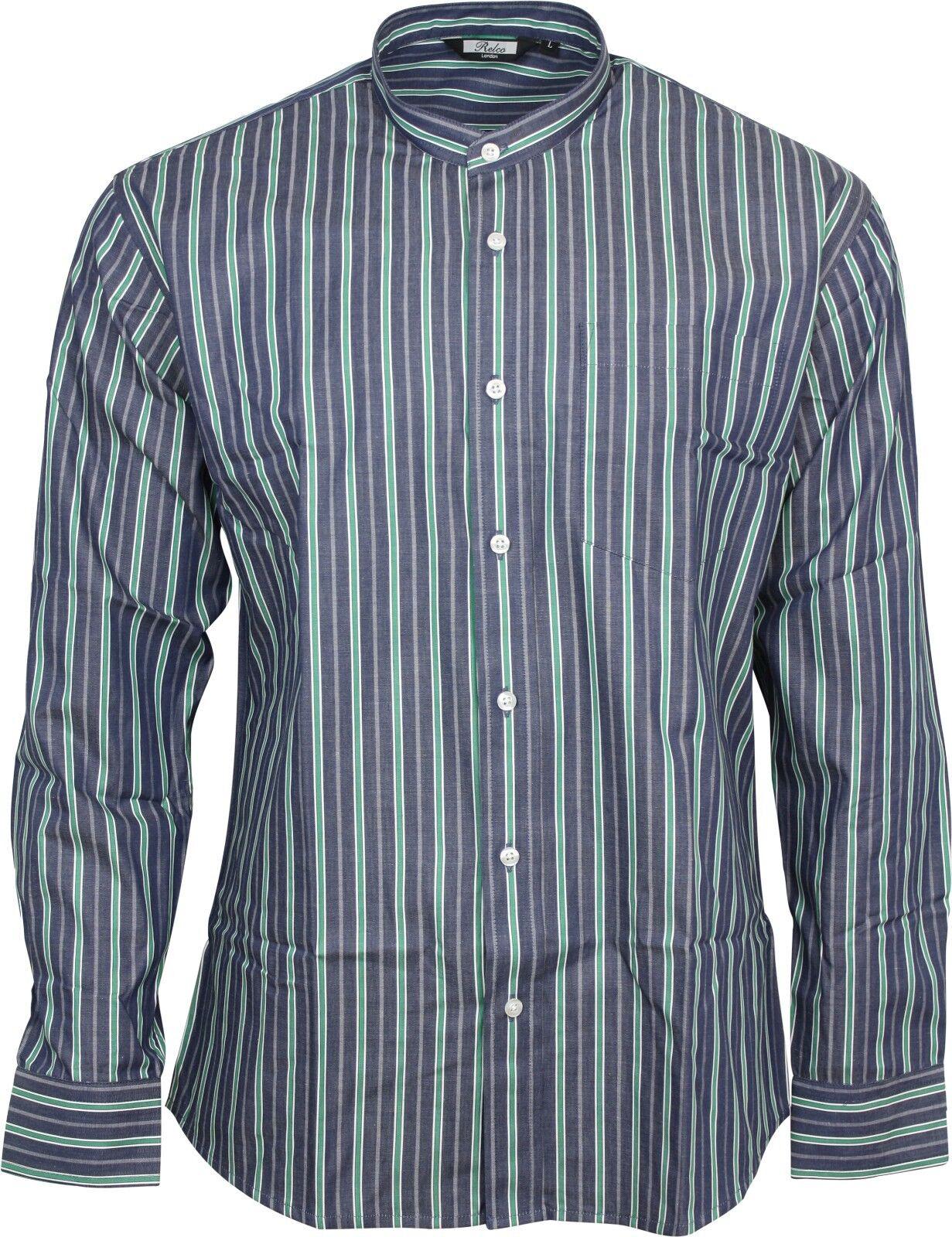a0783f4d9548c Relco Mens Classic bluee Green Long Sleeved Grandad 50s 60s Retro Shirt  Striped nuyaqy8657-Casual Shirts   Tops
