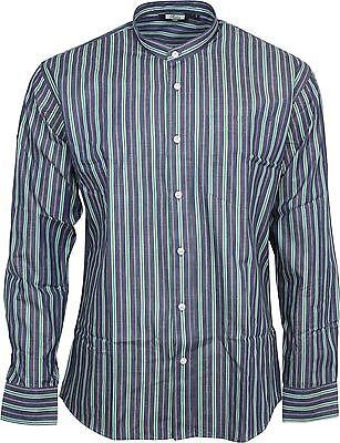 Relco Uomo Classico Blu A Righe A Maniche Lunghe Grandad Camicia 50s 60s Retrò Vintage