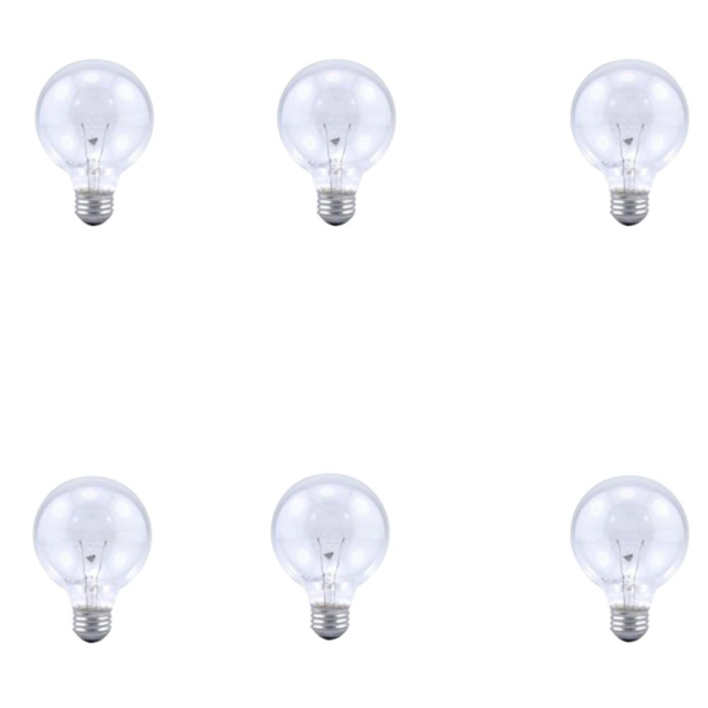 6pk Sylvania Soft Clear Round Globe Light Bulbs Bathroom Vanity Bulb 40 Watt G25 For Sale Online Ebay