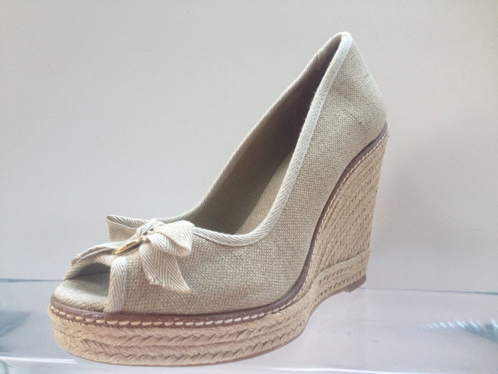 TORY BURCH JACKIE ESPADRILLE WEDGE SANDAL PEEP GOLD WASHED BEIGE SZ 9 1/2
