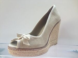 62155a8814f8 TORY BURCH JACKIE ESPADRILLE WEDGE SANDAL PEEP GOLD WASHED BEIGE SZ ...