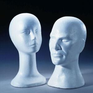 Styropor Perückenköpfe männlich weiblich Mannequin Modellkopf Schaumstoff Büste
