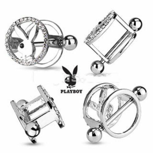 Par De Playboy Bunny centrado CZ allanó Pezón Piercing Escudos//Anillos