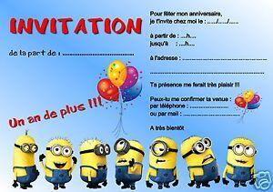 5 o 12 biglietti invito compleanno IL MINIONS ref 260 | eBay