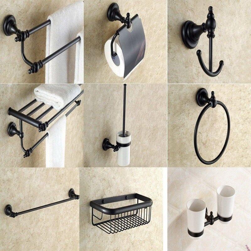 Conjuntos de accesorios de baño montado en la parojo negro aceitado Bronce Baño Montaje yset 004