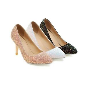 Women-039-s-Slim-Heels-Shiny-Glitter-Party-Shoes-Pointed-Toe-Pumps-AU-Size-2-10-D377
