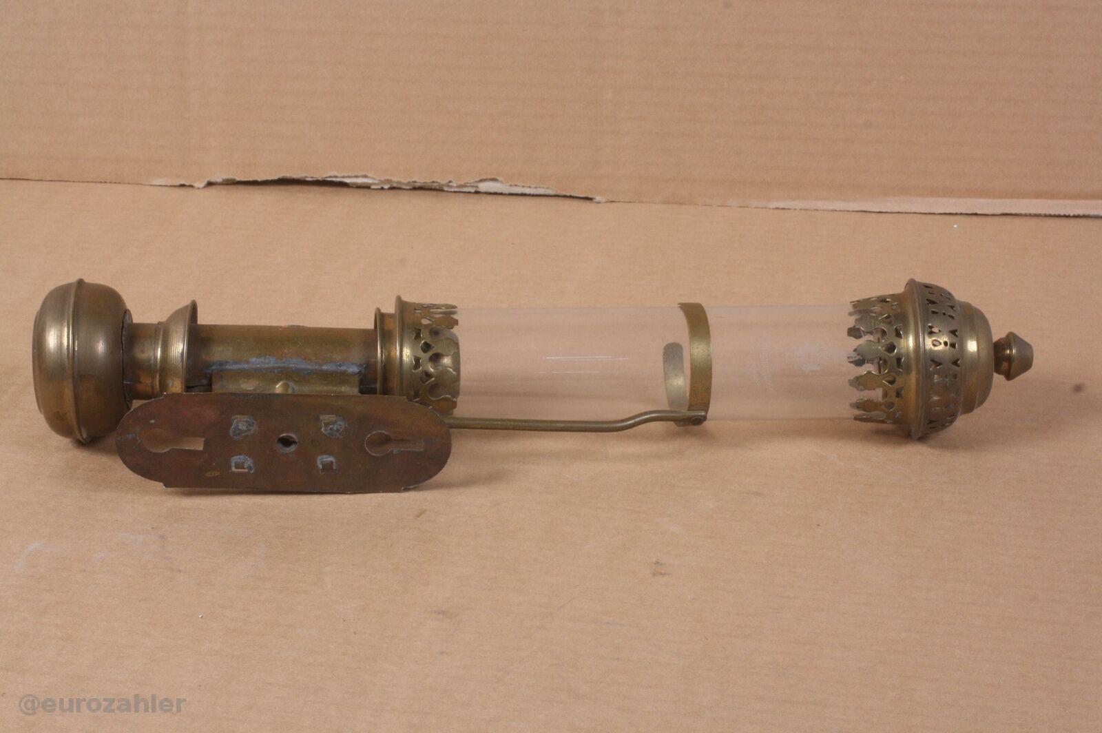 DLC antiker Messing Kerzenleuchter Wandleuchter 41cm hoch original Glaszylind...