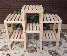 Plant Stand Cypress Wooden 6 Shelf Indoor Outdoor Patio Flowers Garden Yard