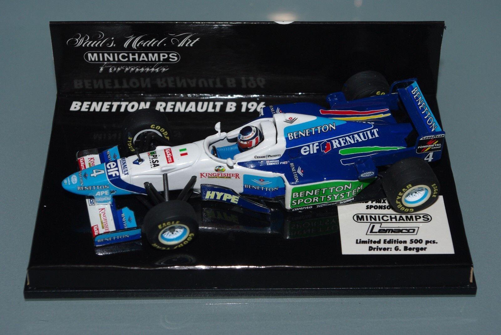 con 60% de descuento Minichamps F1 1 43 43 43 Benetton Renault B196 Lemaco-Berger-Gp Monaco 500 piezas  Ahorre 60% de descuento y envío rápido a todo el mundo.