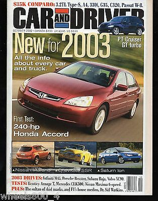 Car and Driver October 2002 PT Cruiser, GT turbo, Honda Accord, Nissan, Saturn