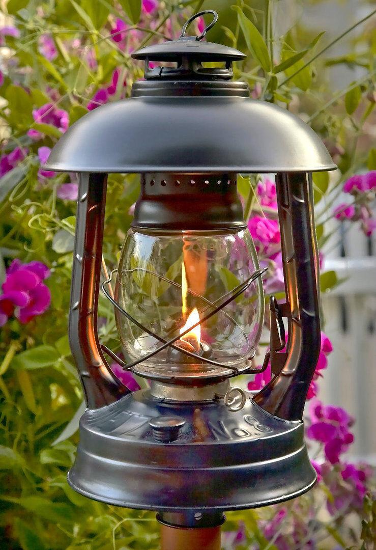 Dietz Gartenlampe Sturmlaterne schwarz Höhe 33 cm leuchtdauer 27 St. neu und OVP  | Online einkaufen