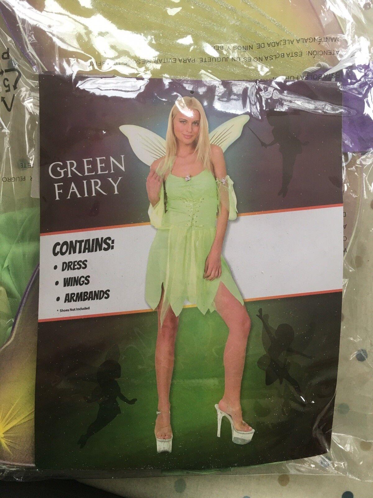 Ladies 10-14 Green Fairy Fancy Dress Up Costume VGC tale Tinkerbell Peter Pan
