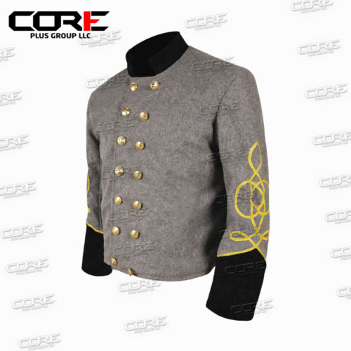 Us Civil War CS Officer/'s Grey with Black 2 Braid Double Breast Shell Jacket
