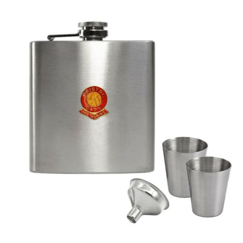 Bristol City football club hip flask gift set