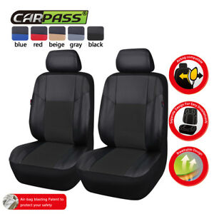 Universal-2-Front-Black-Car-Seat-Covers-PU-Leather-For-Truck-SUV-Honda-Holden