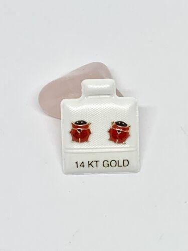 Details about  /Real 14k Gold Ladybug Earrings Studs  Screw back  Aretes de Mariquita Catarina