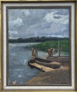 German-Painter-M-Rauschning-Boat-on-the-Shore-Bodensee-Oil-Painting