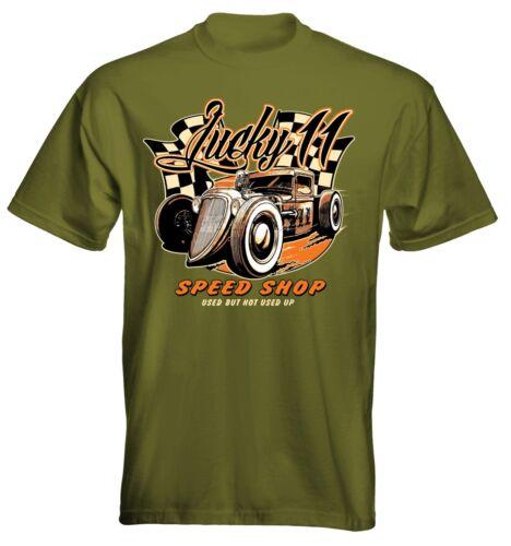 Velocitee Mens Premium T-Shirt Lucky 11 Ford Hot Rat Rod Truck Rockabilly W18743