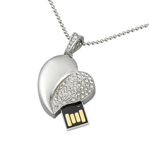 8G 16G 32G 64G USB Flash Drive Crystal Heart Memory Storage Stick Thumb Gift