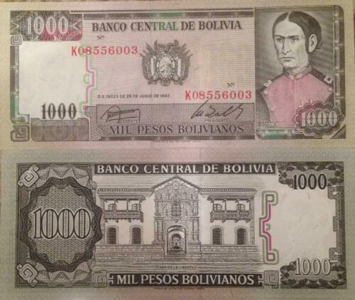 BOLIVIA 1982 1000 BOLIVIANOS P-167 UNC BANKNOTE DE PADILLA FROM A USA SELLER !!!