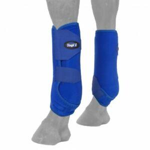 Tough-1-Extreme-Sport-Stiefel-in-Blau-Groesse-Large-Fronten-Pferd-Tack-64-18000