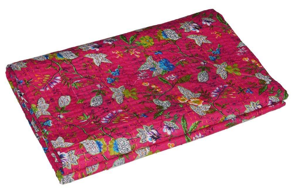 Indian Handmade Quilt Vintage Kantha Bettspread Throw Cotton Blanket Paradise Kunst