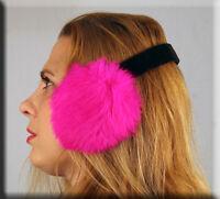 Fuschia Rabbit Fur Ear Muffs Velvet Band - Efurs4less