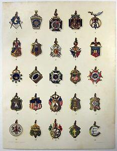 Society Emblems: 1904 Chromo-Lithograph by Julius Bien & Co. Antique