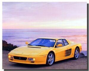 Yellow Ferrari Testarossa Transportation Old Car Wall Decor Art Print (16x20)