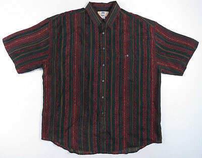 Bellissimo Anni 80 90s Verde Bordeaux Paisley Seta A Righe Casual Camicia L Vintage Originale Al 100%