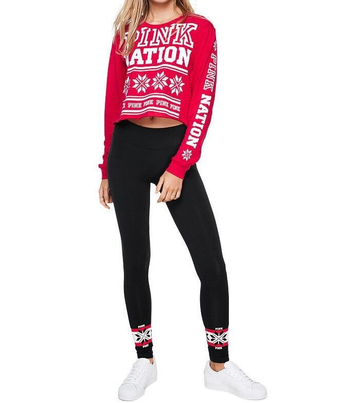 39a6c52eba624 Victoria's Secret PINK CAMPUS CAMPUS CAMPUS CROPPED LONG SLEEVE TEE +  COTTON LEGGING XS-M NEW ff6dca
