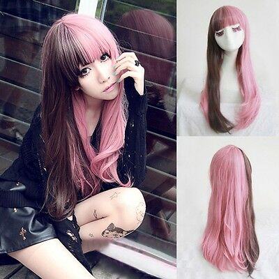 Fashion Lolita Brown+Pink Hair Long Curly Wavy Full Wigs Cosplay Party Costume