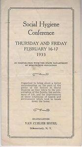 Social Hygiene Conference Program 1933 Sex Ed Schenectady NY Van Curler Hotel