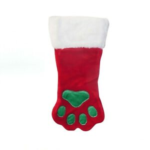 Paw Print Plush Holiday Stocking