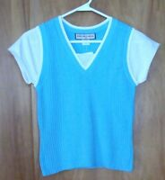 Girls Great American Sweater Co One Piece Sweater Vest Shirt M 8 - 10 Aqua Blue