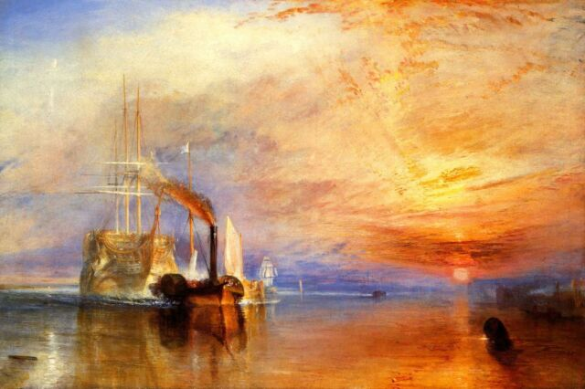 The Fighting Temeraire Tugged POSTER FRAMED ON CANVAS & MOUNTED