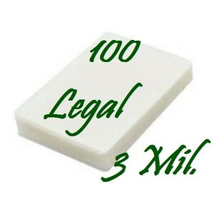 100 LEGAL Laminating Pouches Laminator Sleeves 9 x 14-1/2 3 Mil Scotch Quality