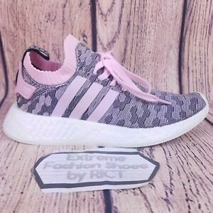 Details about Adidas NMD R2 Primeknit Women Shoes Size 8.5 Pink Gray Black White Boost BY9521
