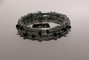Recycled Aluminum & Black Bead Wrapped Bangle Bracelet Jillery by Jill Fagan