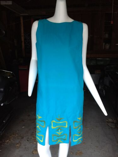 Vintage Tropicana blue print sheath dress