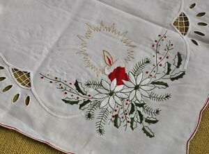 image is loading dainty white embroidered cotton square christmas tablecloth 33 - Square Christmas Tablecloth