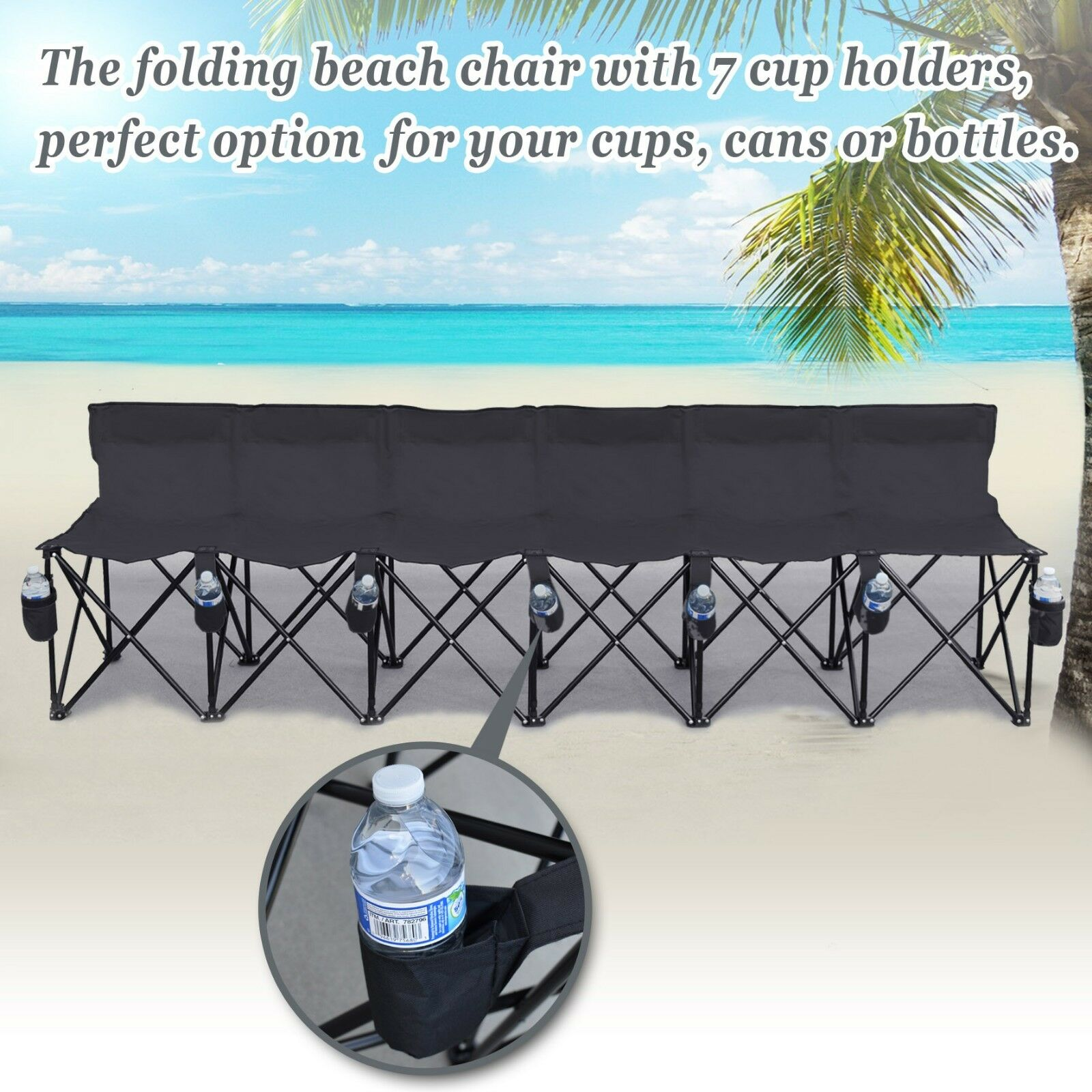 6 Seater Folding Chair SportsSideline Portable Bench w Cup Holder and Carry Bag