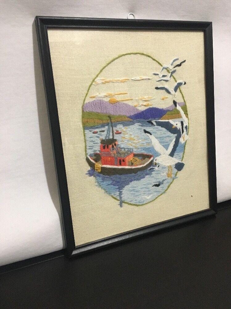 Jeu de 2 Point Croix Broderie Encadré Vintage Sailing Sailing Vintage Ship Bateau Mouettes Plage 4c4d3b