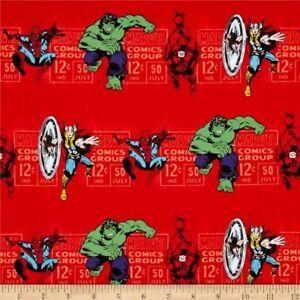 Camelot Fabric Marvel III Price /& Hero Stripe in Red HALF METRE