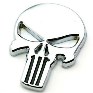 Adesivo-TESCHIO-emblema-Skull-Punisher-auto-tuning-car-sticker-metallo-ARGENTO