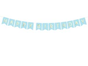 Pastel Light Blue Happy Birthday Flag Banner Bunting 1 75m Boys Party Decoration Jolash Pl